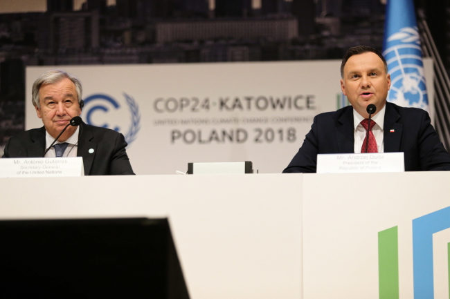 Antonio Guterres and Andrzej Duda at the UN climate conference on Monday. Photo: PAP/Andrzej Grygiel