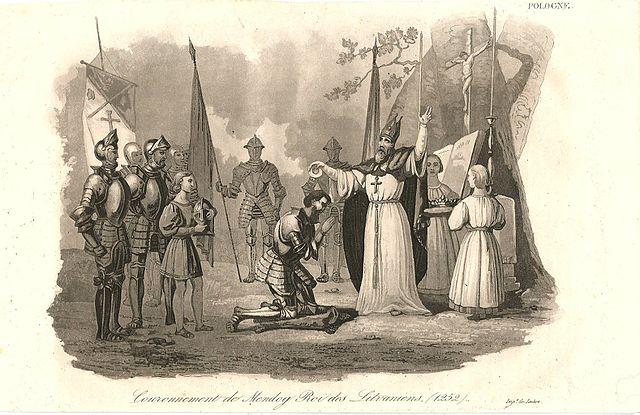 Каранацыя Міндоўга. Гравюра з кнігі Л. Ходзькі «Палонія», 1824.