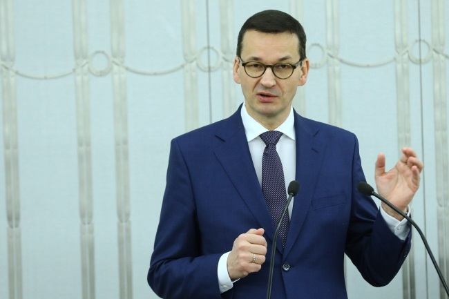 Prime Minister Mateusz Morawiecki speaks in the upper house of Poland's parliament, the Senate, on Wednesday. Photo: PAP/Rafał Guz