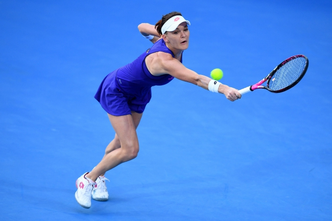 Agnieszka Radwańska in action against Johanna Konta. Photo: EPA/DAN HIMBRECHTS