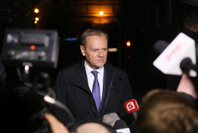 Donald Tusk after leaving the prosecutor's office in Warsaw. Photo: PAP/Paweł Supernak