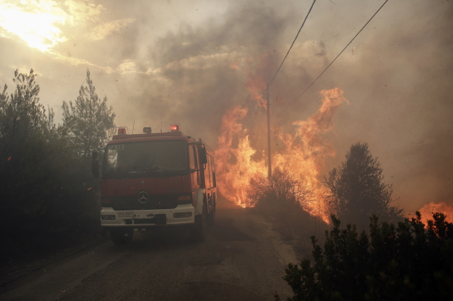Forest fires burn in Attica, the Greek region encompassing Athens. Photo: EPA/ALEXANDROS VLACHOS