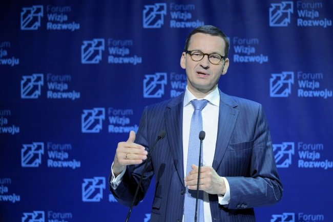Prime Minister Mateusz Morawiecki speaks at the Vision for Development Forum event in the northern city of Gdynia on Monday. Photo: PAP/Adam Warżawa