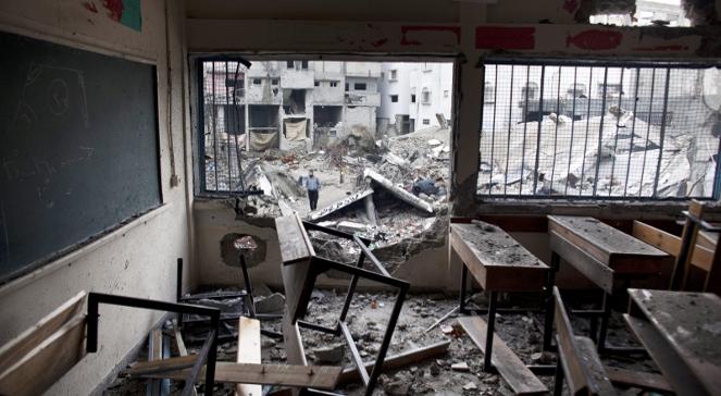 Budynek szkoły w Strefie Gazy zniszczony w wyniku izraelskiego ostrzału