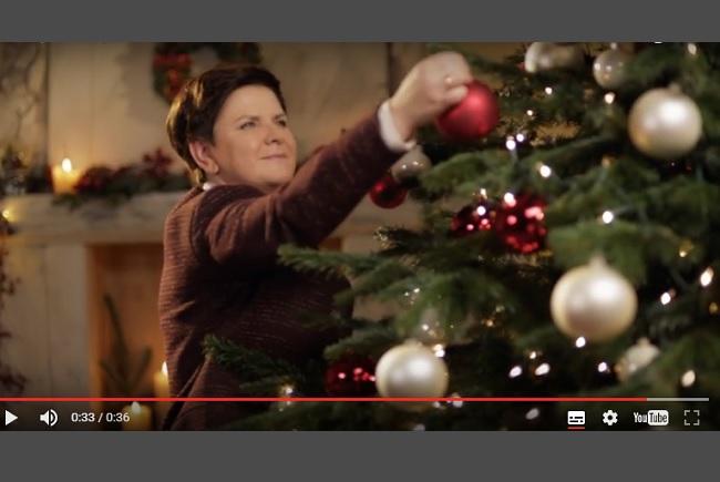 A still from Polish Prime Minister Beata Szydło's Christmas address. Photo: premier.gov.pl.