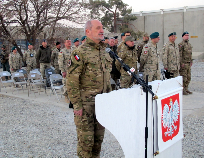 Polish Defence Minister Antoni Macierewicz at Afghanistan's Bagram military air base.
