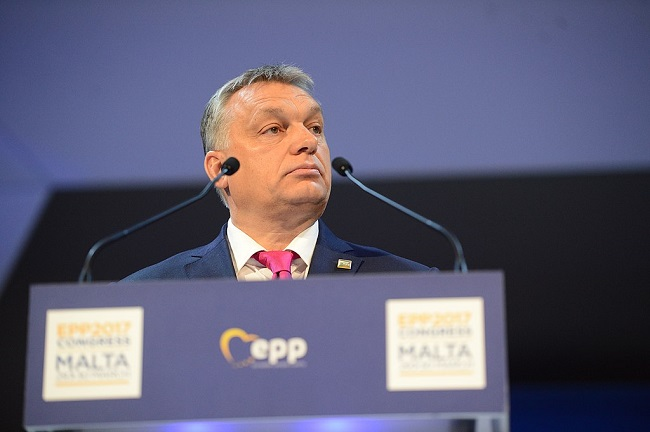 Viktor Orban speaks at an EPP conference in Malta in 2017. Photo: European People's Party [CC BY 2.0 (https://creativecommons.org/licenses/by/2.0)]