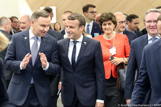 Polish President Andrzej Duda (L) with French President Emmanuel Macron. Photo: KPRP