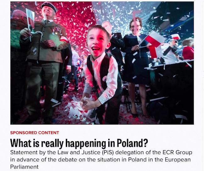 """Одна из статей, опубликованная в рамках акции """"Правда о Польше"""" в издании Politico (http://www.politico.eu/sponsored-content/what-is-really-happening-in-poland)"""