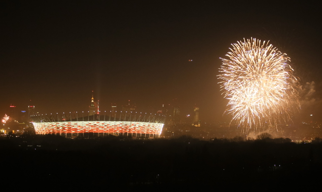 Fireworks go off by the National Stadium in Warsaw. Photo: PAP/Pawel Supernak