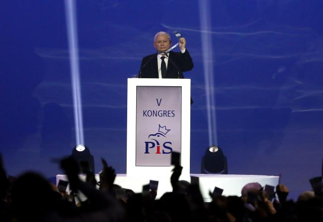 Jarosław Kaczyński giving a keynote speech at the Law and Justice congress in Warsaw. Photo: PAP/Tomasz Gzell