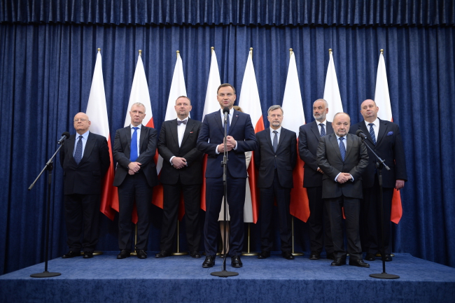 President Andrzej Duda (C) appointed the Coincil on Friday. Photo: PAP/Jacek Turczyk