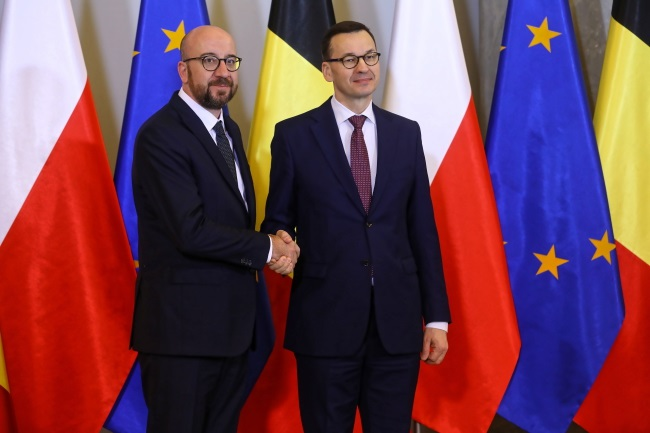 Poland's Mateusz Morawiecki (right) and Belgium's Charles Michel (left) meet in Warsaw on Tuesday. Photo: PAP/Rafał Guz