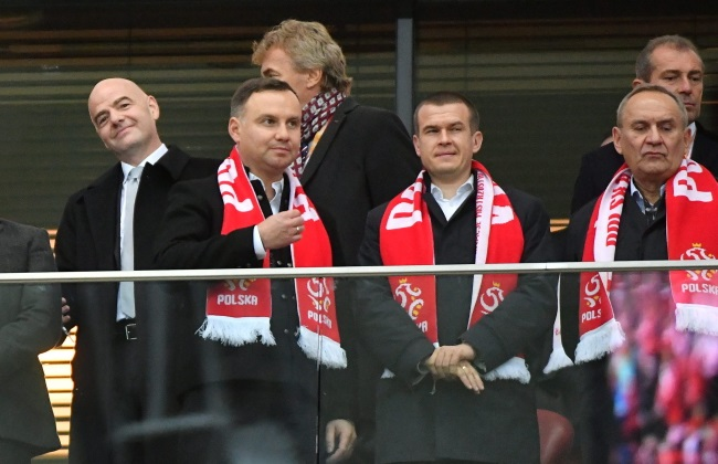 President Andrzej Duda (second from left) watches Sunday's game at Warsaw's National Stadium together with officials including Sports Minister Witold Bańka (second from right). Photo: PAP/Bartłomiej Zborowski
