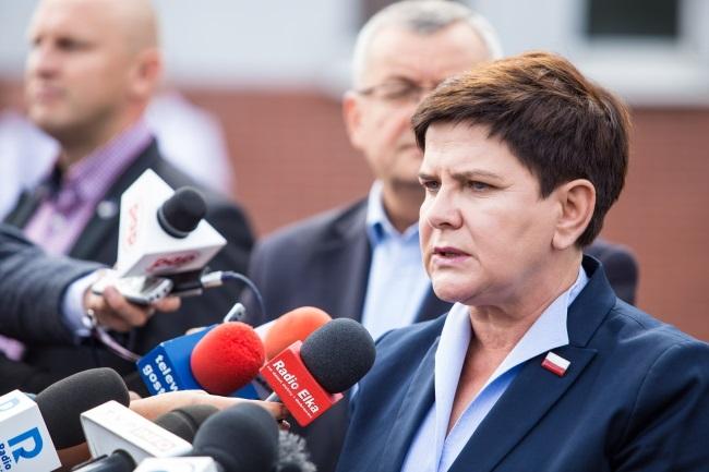 PM Beata Szydło speaks at a press briefing in Gostyń on Wednesday. Photo: PAP/Marek Zakrzewski
