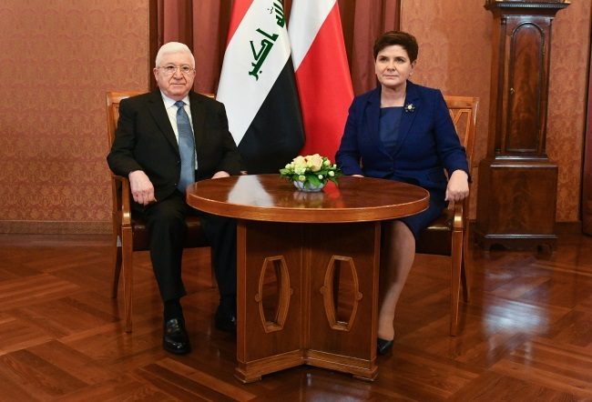 Polish PM Beata Szydło (right) and Iraqi President Fuad Masum meet in Warsaw on Tuesday. Photo: PAP/Marcin Obara