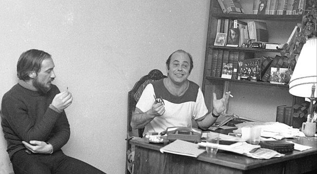 Собрание членов и сотрудников Комитета защиты рабочих. На фотографии Антони Мацеревич (слева) и Яцек Куронь (справа)