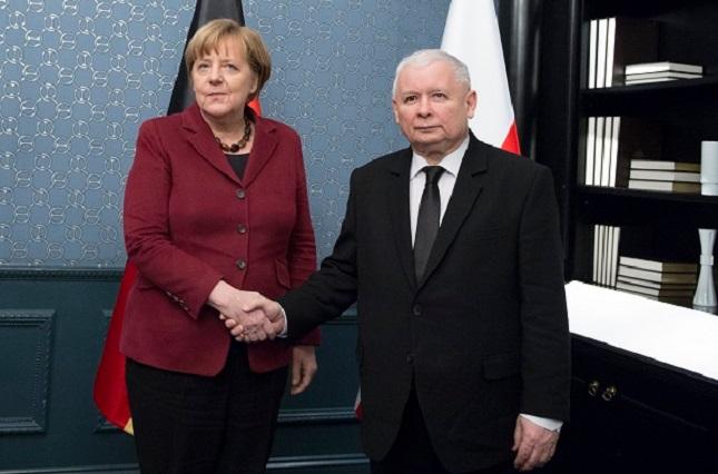 Bundeskanzlerin Angela Merkel und Vorsitzender der PiS Jarosław Kaczyński