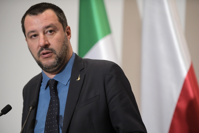 Matteo Salvini talks to reporters in Warsaw. Photo: PAP/Marcin Obara