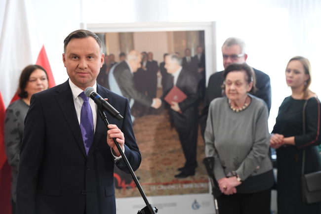 Президент Польши Анджей Дуда на открытии выставки «Мастер Релига. Человек, врач, политик» в Сенате Польши.