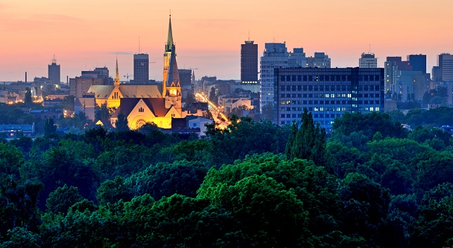 Das Panorama von Łódź