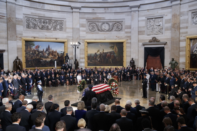 The casket of late Senator John McCain during a memorial service in the Rotunda, Washington, DC. Photo: EPA/SHAWN THEW