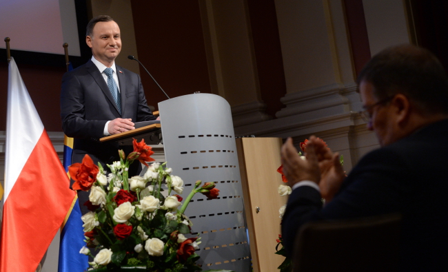 President Andrzej Duda at the economic forum in Sweden. Photo: PAP/Jacek Turczyk.
