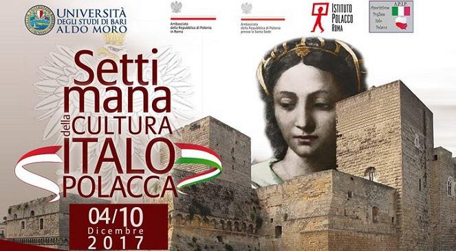 Plakat promujący Polsko - Włoski Tydzień w Bari
