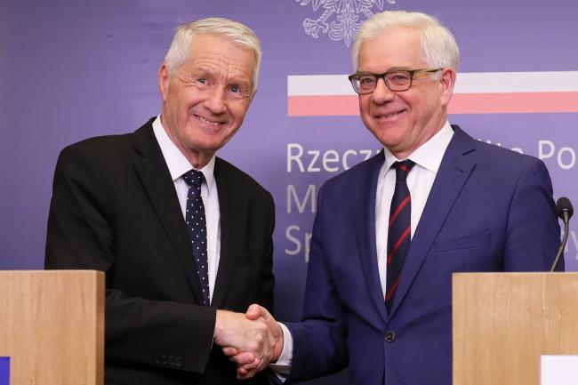 Генеральный секретарь Совета Европы Турбьёрн Ягланд и министр иностранных дел Польши Яцек Чапутович