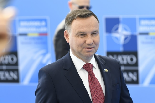 Polish President Andrzej Duda arrives for a NATO summit in Brussels, Belgium, on Wednesday. Photo: EPA/CHRISTIAN BRUNA