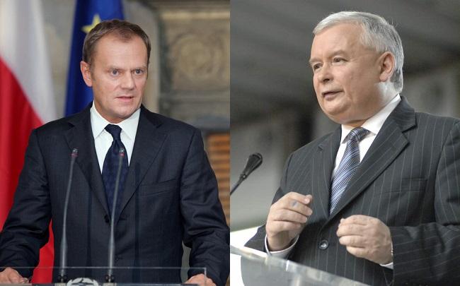 Erzrivalen - Donald Tusk (l.) und Jarosław Kaczyński