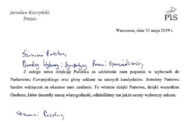 Письмо председателя партии «Право и справедливость» Ярослава Качиньского к полякам в связи с выборами в Сейм и Сенат РП