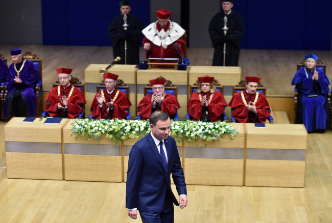 President Andrzej Duda during the inauguration of the academic year at Kraków's Jagiellonian University. Photo: PAP/Jacek Bednarczyk