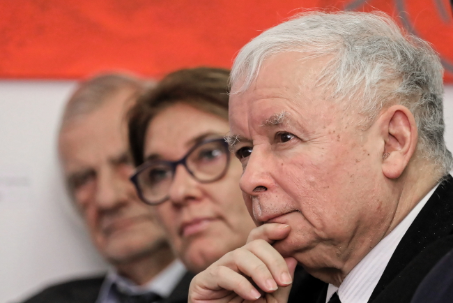PiS leader Jarosław Kaczyński (right), pictured on Wednesday. Photo: PAP/Paweł Supernak