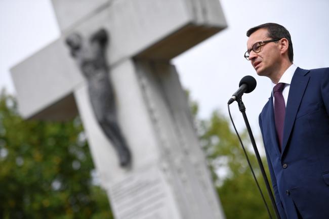Mateusz Morawiecki at Warsaw's Volhynia Massacre monument. Photo: PAP/Jacek Turczyk