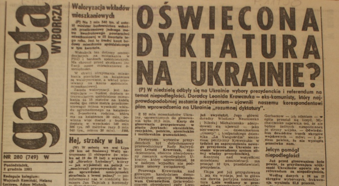 «Gazeta Wyborcza», 2 грудня 1991 року