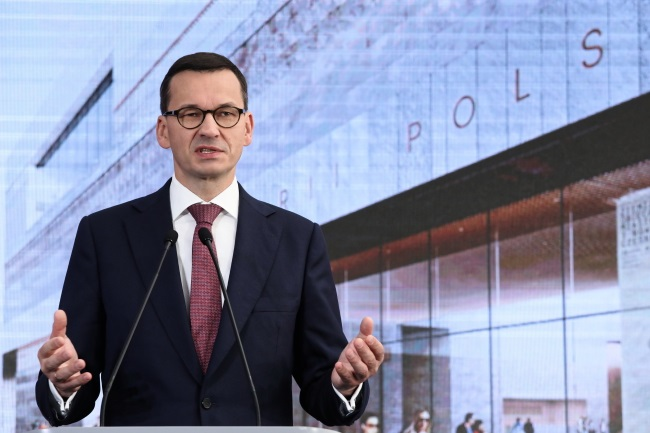 Prime Minister Mateusz Morawiecki speaks during the ceremony in Warsaw on Thursday. Photo: PAP/Tomasz Gzell