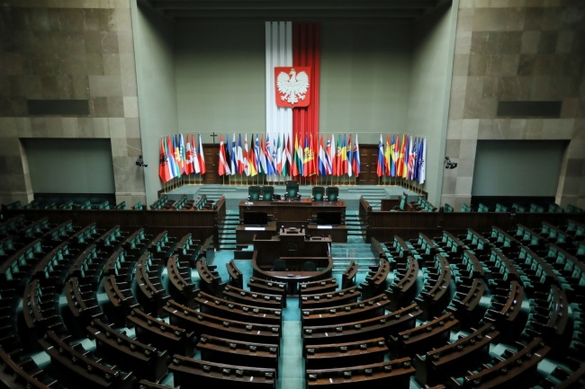 The lower chamber of Poland's parliament decked out with national flags ahead of the Spring Session of the NATO Parliamentary Assembly, which was scheduled to open in the Polish capital on Friday. Photo: PAP/Leszek Szymański