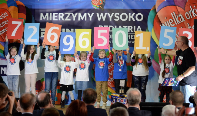 Jerzy Owsiak (R) reveals how much money was raised this year by the Great Orchestra of Christmas Charity. Photo: PAP/Piotr Polak