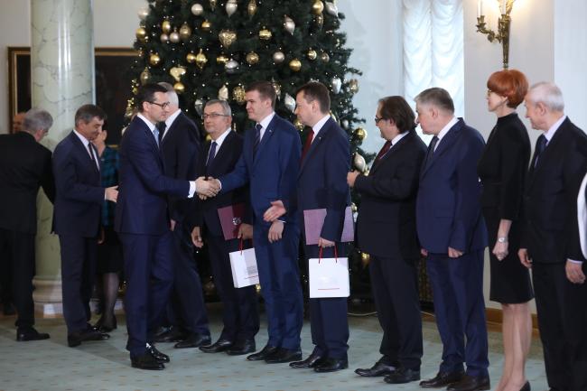 Премьер Матеуш Моравецкий во время торжественной церемонии назначения новых членов Совета министров в Президентском дворце в Варшаве (9 января 2018 г.)