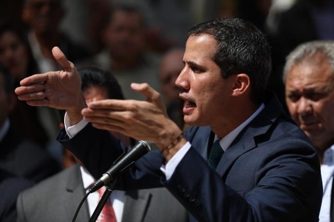 Venezuela's Juan Guaidó speaks at a press conference in Caracas on Monday. Photo: EPA/CRISTIAN HERNANDEZ