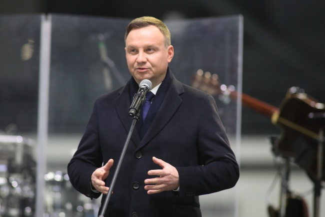 Andrzej Duda at the official opening of Poland's first indoor speed skating track. Photo: PAP/Marek Kliński