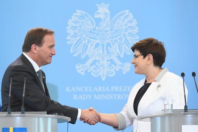 Stefan Löfven and Beata Szydło in Warsaw. Photo: PAP/Bartłomiej Zborowski