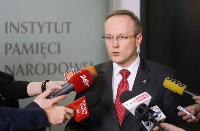 Chairman of the Institute of National Remembrance Łukasz Kamiński on Tuesday evening. Photo: PAP/Paweł Supernak