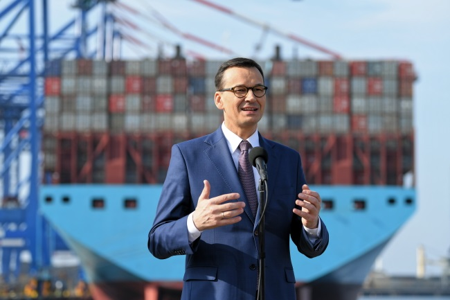 Prime Minister Mateusz Morawiecki speaks during a visit to the DCT Gdańsk container terminal on Saturday. Photo: PAP/Adam Warżawa