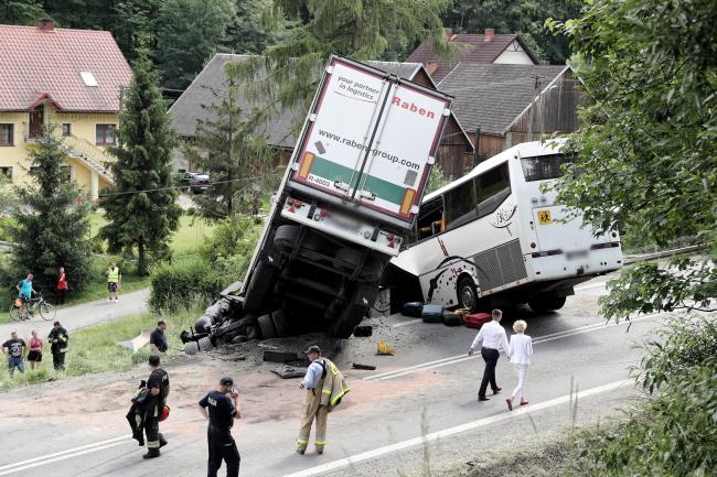 The scene of the crash on Friday. Photo: PAP/Grzegorz Momot