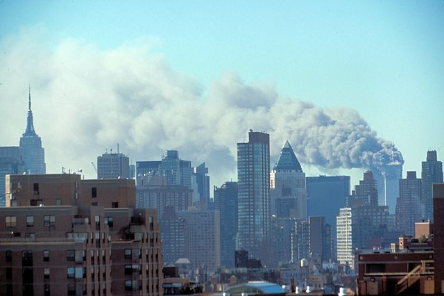 Manhattan's twin towers in the attack. Photo: Library of Congress/Wikimedia Commons (Public Domain)