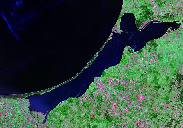 The Vistula Lagoon. Photo: Wikimedia Commons/NASA.