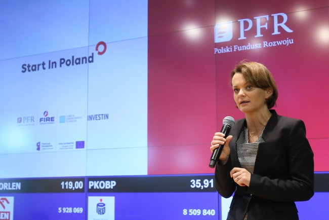 Deputy Development Minister Jadwiga Emilewicz speaks at the launch of the Good Idea programme in Warsaw on Friday. Photo: PAP/Paweł Supernak
