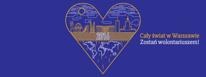 """Логотип проекта """"Весь мир в Варшаве. Стань волонтером"""""""